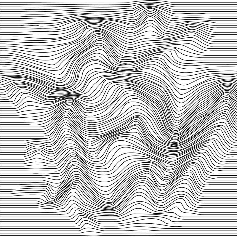 Golvende lijnmisvorming Abstracte zwart-wit gestreepte glitch achtergrond Vector illustratie stock illustratie