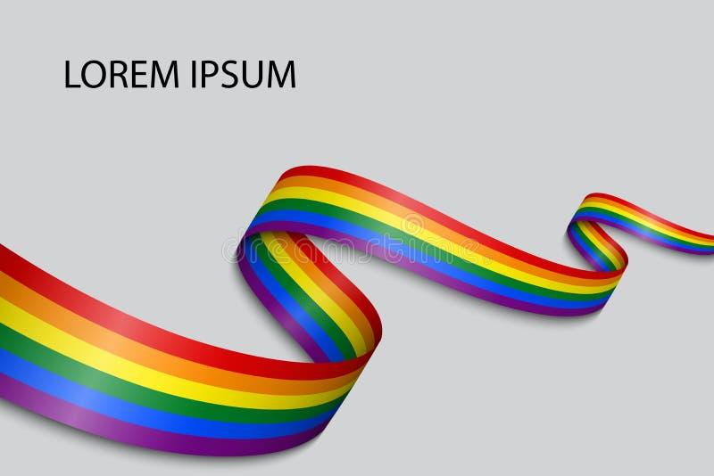 Golvende lint of banner met vlag van LGBT-trots vector illustratie