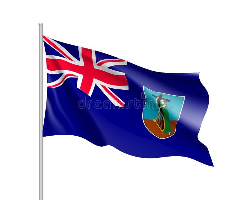 Golvende nationale vlag van Montserrat Island royalty-vrije illustratie