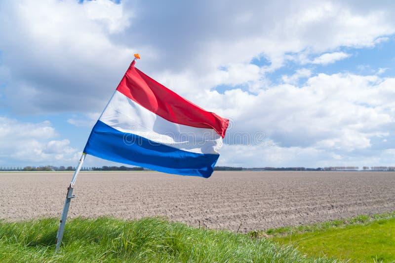 Golvende Nederlandse vlag royalty-vrije stock foto