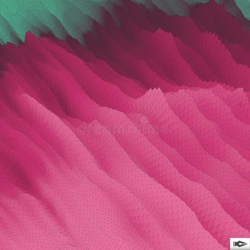 Golvende Netachtergrond mozaïek 3d Abstracte vectorillustratie royalty-vrije stock afbeeldingen
