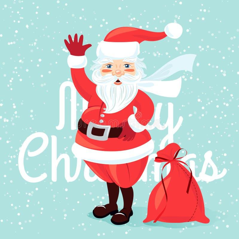 Golvende Santa Claus met zakhoogtepunt van presetns Vlakke stijl stock illustratie
