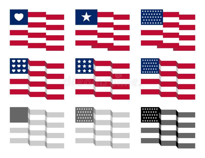 Golvende Sterren en Riemen Amerikaanse Vlag royalty-vrije stock foto's