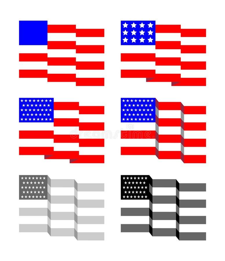 Golvende Sterren en Riemen Amerikaanse Vlag stock afbeeldingen