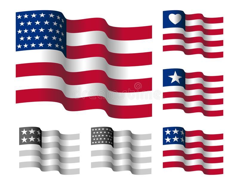 Golvende Sterren en Riemen Amerikaanse Vlag stock foto