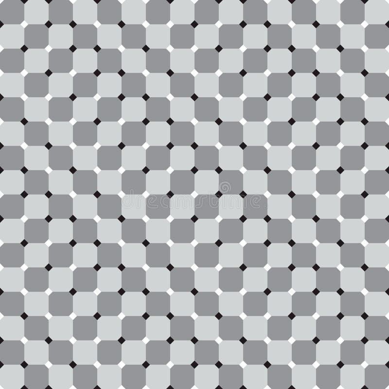 Golvende Vierkanten, Zwart-witte Naadloze Optische illusievector stock illustratie