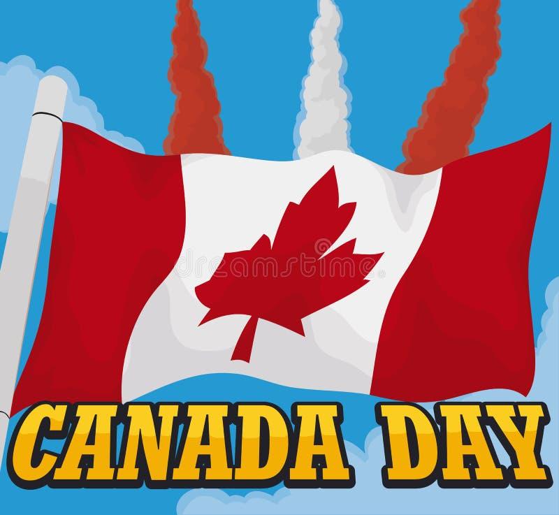 Golvende Vlag en Hemel met Airshow-Demonstratie voor de Dag van Canada, Vectorillustratie stock illustratie