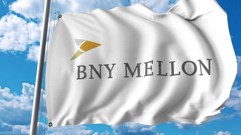 Golvende vlag met de Bank van het embleem van New York Mellon Editoial het 3D teruggeven royalty-vrije illustratie