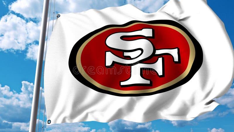 Golvende vlag met embleem van het San Francisco 49ers het professionele team Het redactie 3D teruggeven stock illustratie