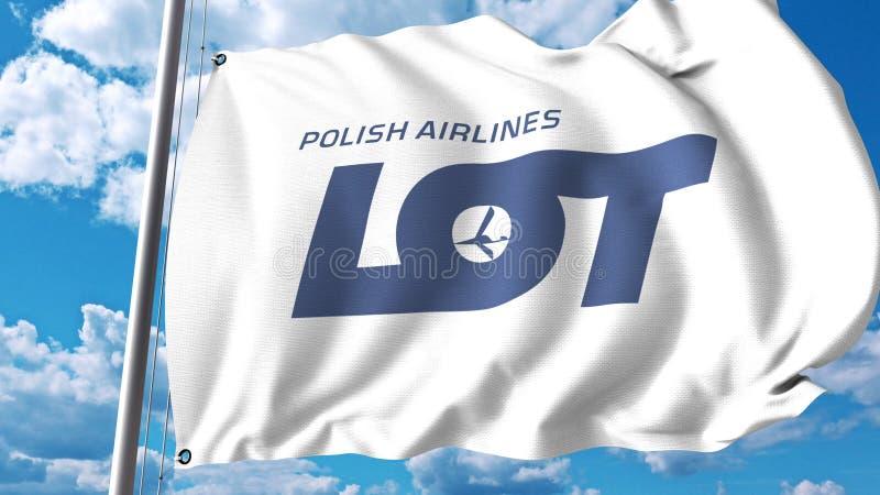 Golvende vlag met embleem van Partij het Poolse Luchtvaartlijnen het 3d teruggeven stock illustratie