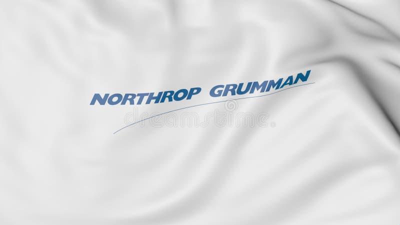 Golvende vlag met Northrop Grumman-embleem Het redactie 3D teruggeven stock fotografie