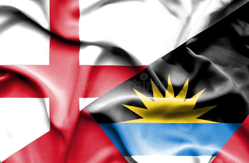 Golvende vlag van Antigua en Barbuda en Engeland royalty-vrije stock afbeelding