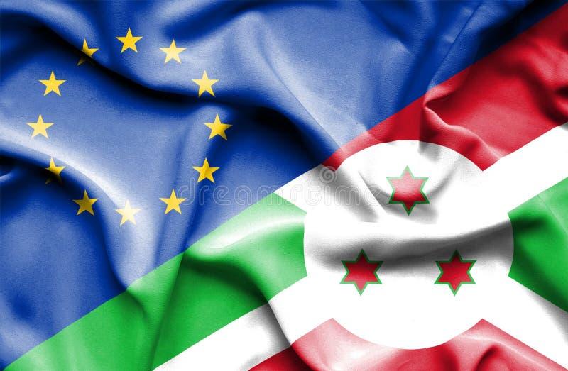 Golvende vlag van Burundi en de EU stock fotografie