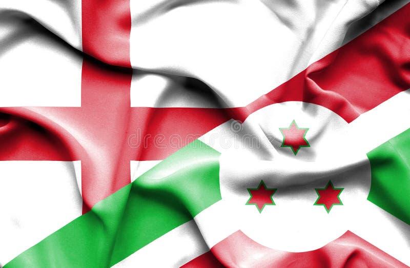 Golvende vlag van Burundi en Engeland stock foto