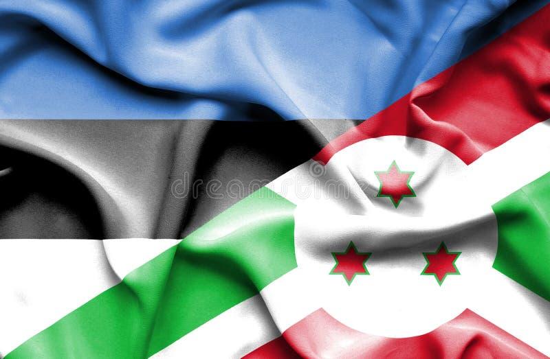 Golvende vlag van Burundi en Estland royalty-vrije stock afbeelding