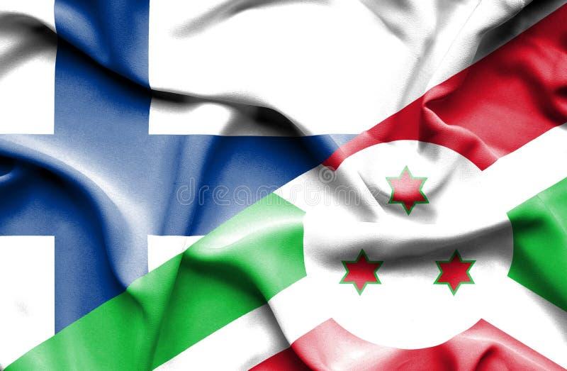 Golvende vlag van Burundi en Finland royalty-vrije stock afbeelding