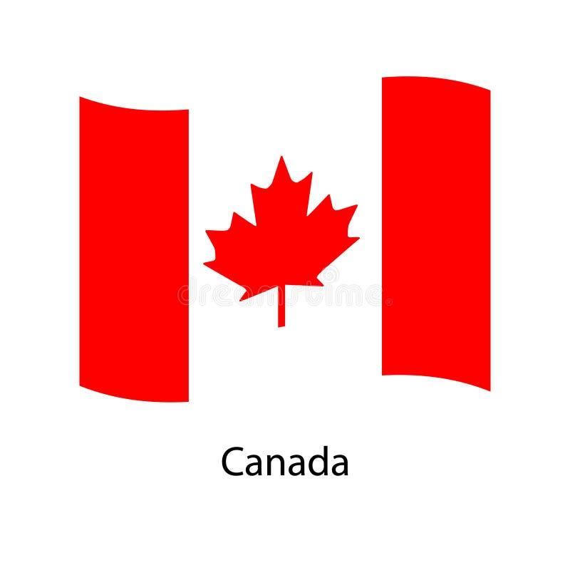 Golvende Vlag van Canada Illustratie van de vlag van het land van Noord-Amerika op vlaggestok stock illustratie