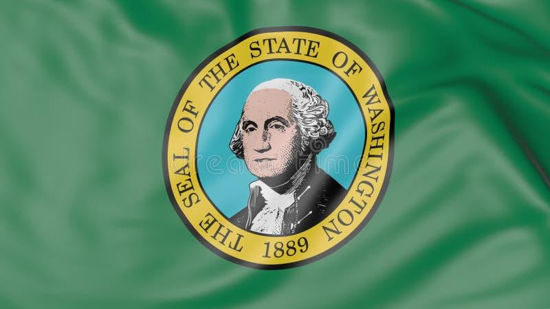 Golvende vlag van de staat van Washington het 3d teruggeven stock afbeelding