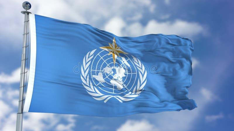 Golvende Vlag van de wereld de Meteorologische Organisatie WMO stock illustratie