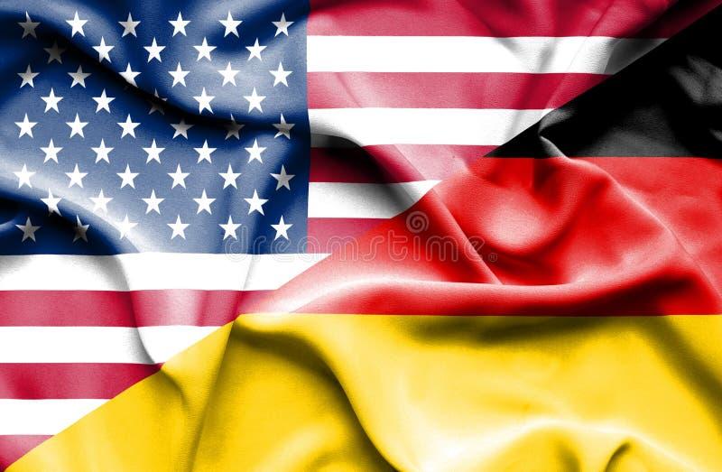 Golvende vlag van Duitsland en de V.S. royalty-vrije illustratie