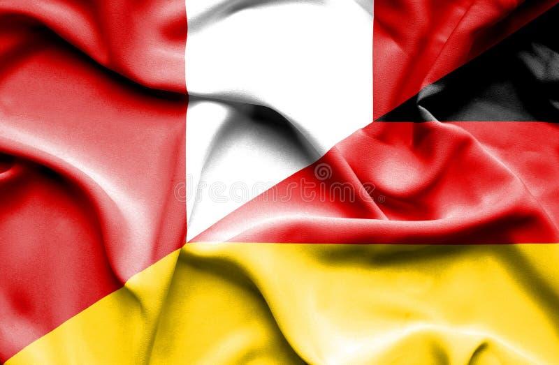 Golvende vlag van Duitsland en Peru vector illustratie