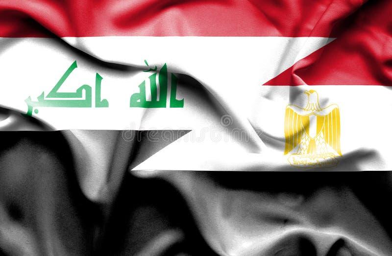 Golvende vlag van Egypte en Irak vector illustratie