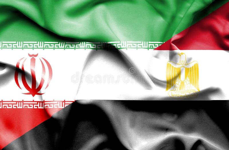 Golvende vlag van Egypte en Iran vector illustratie