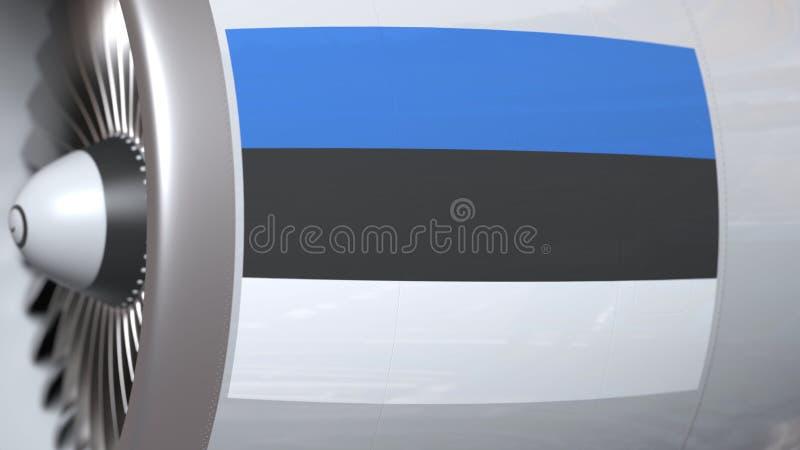 Golvende vlag van Estland op de motor van vliegtuigtourbine De luchtvaart bracht het 3D teruggeven met elkaar in verband stock illustratie