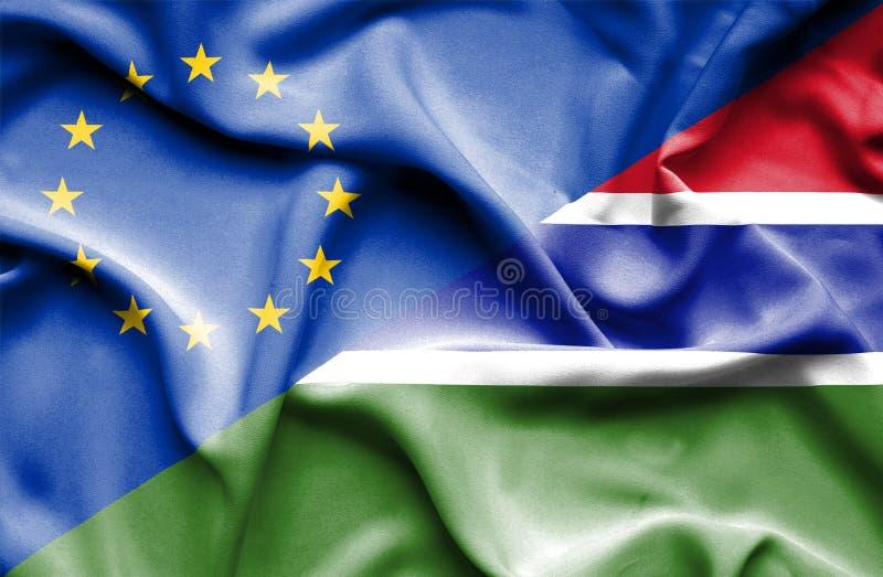 Golvende vlag van Gambia en de EU royalty-vrije stock afbeeldingen