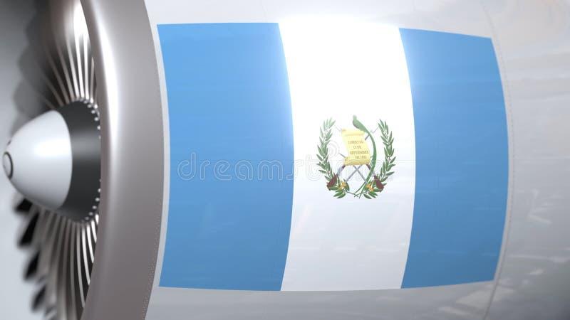 Golvende vlag van Guatemala op de motor van lijnvliegtuigtourbine De luchtvaart bracht het 3D teruggeven met elkaar in verband vector illustratie