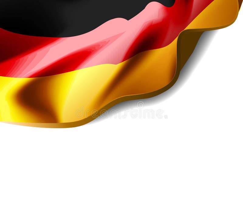Golvende vlag van het close-up van Duitsland met schaduw op witte achtergrond Vectorillustratie met exemplaarruimte stock illustratie