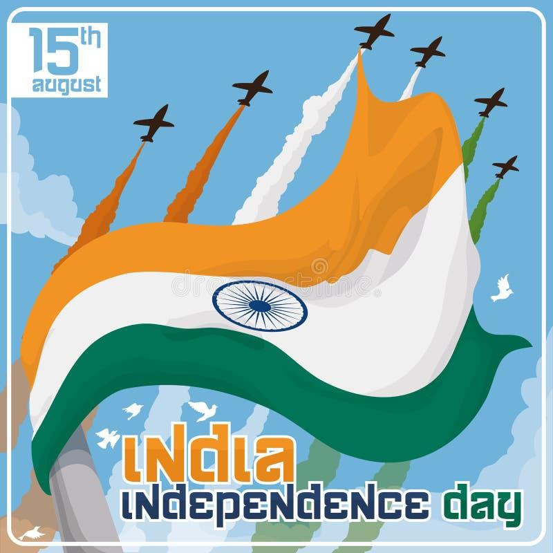 Golvende Vlag van India in de Viering van de Onafhankelijkheidsdag met Airshow, Vectorillustratie vector illustratie