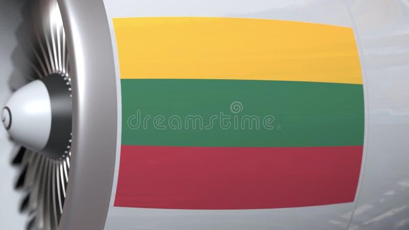Golvende vlag van Litouwen op de motor van lijnvliegtuigtourbine De luchtvaart bracht het 3D teruggeven met elkaar in verband vector illustratie