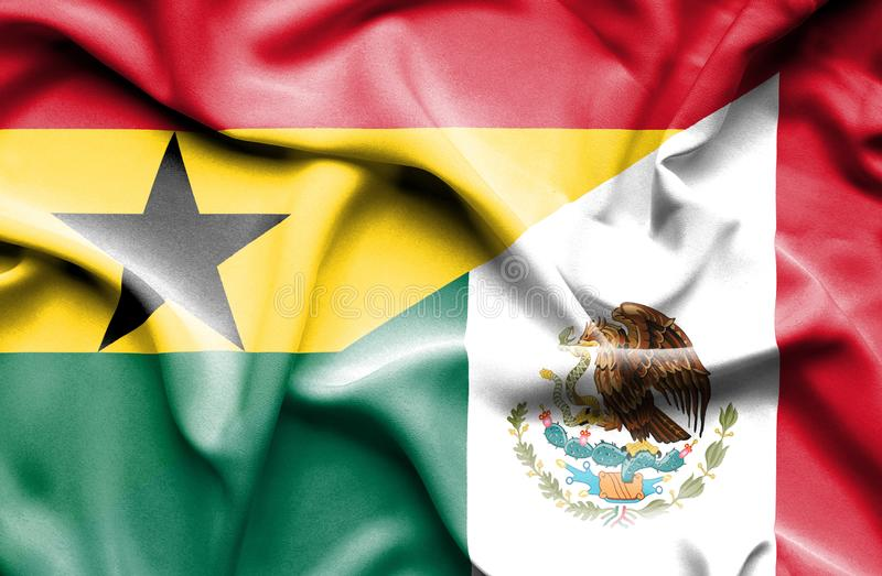 Golvende vlag van Mexico en Ghana stock illustratie