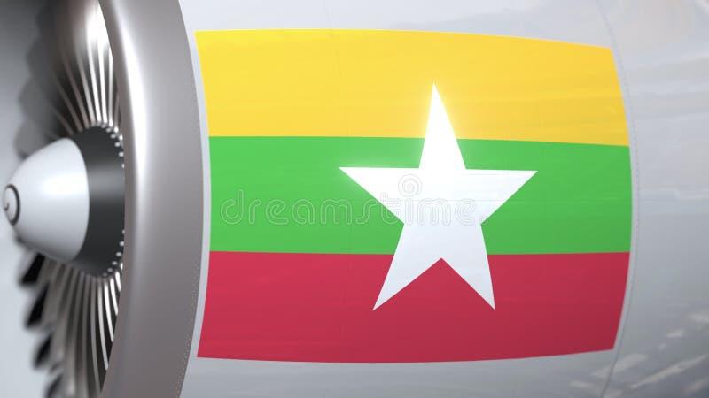 Golvende vlag van Myanmar op de motor van vliegtuigtourbine De luchtvaart bracht het 3D teruggeven met elkaar in verband royalty-vrije illustratie