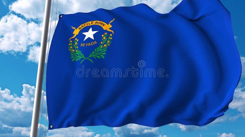Golvende vlag van Nevada het 3d teruggeven vector illustratie