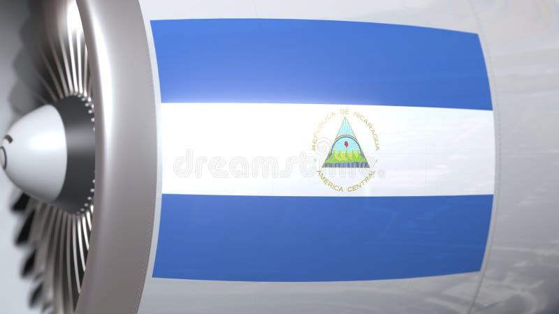 Golvende vlag van Nicaragua op de motor van vliegtuigtourbine De luchtvaart bracht het 3D teruggeven met elkaar in verband stock illustratie