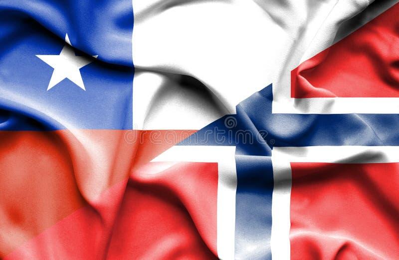 Golvende vlag van Noorwegen en Chili royalty-vrije illustratie