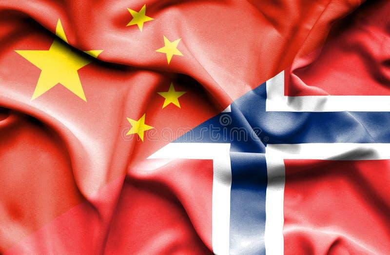 Golvende vlag van Noorwegen en China stock illustratie