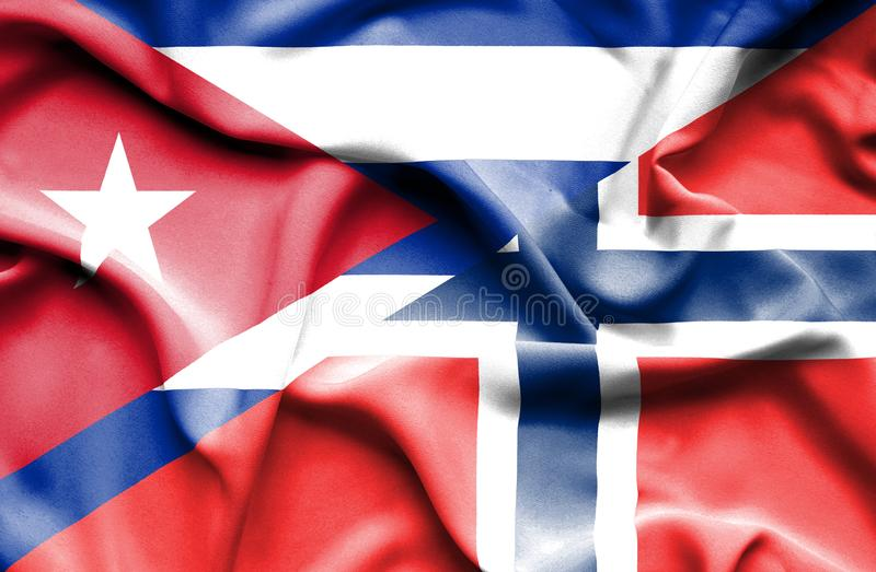 Golvende vlag van Noorwegen en Cuba vector illustratie