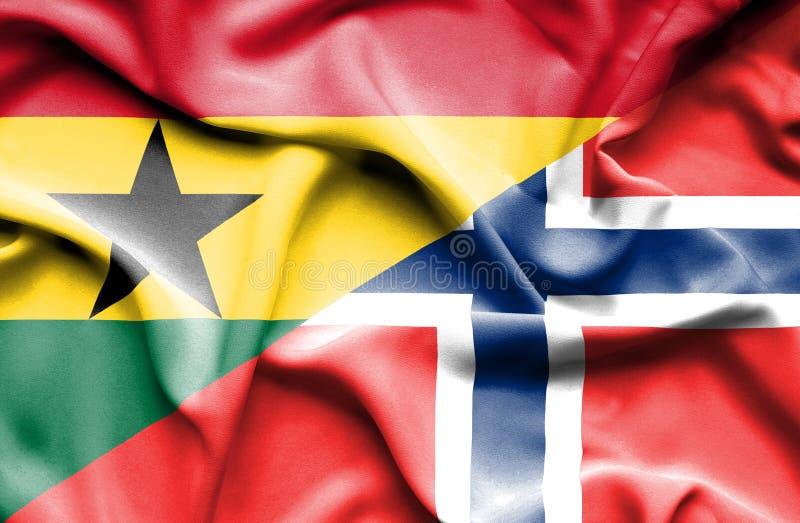Golvende vlag van Noorwegen en Ghana stock illustratie