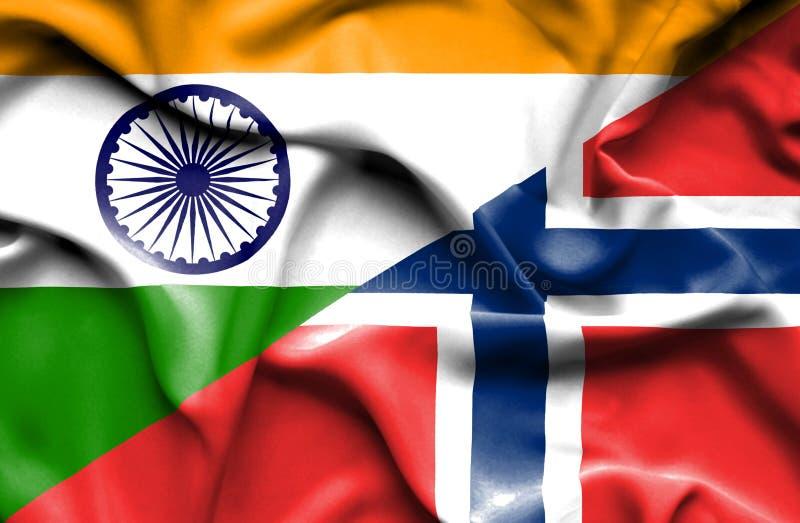 Golvende vlag van Noorwegen en India stock illustratie