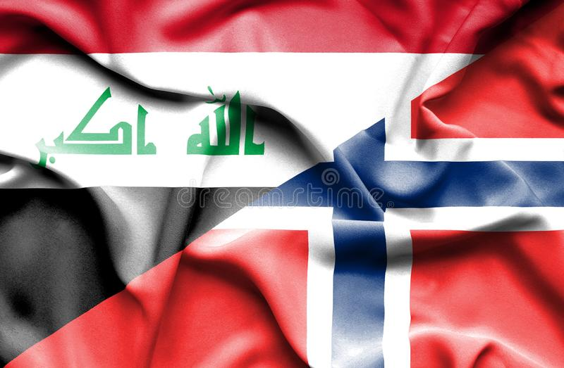 Golvende vlag van Noorwegen en Irak stock illustratie