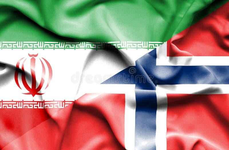 Golvende vlag van Noorwegen en Iran stock illustratie