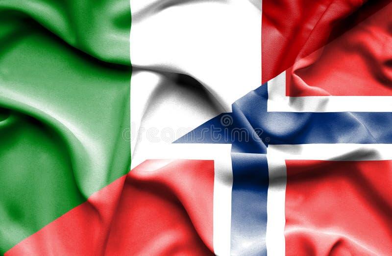 Golvende vlag van Noorwegen en Italië royalty-vrije illustratie