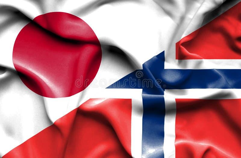 Golvende vlag van Noorwegen en Japan stock illustratie
