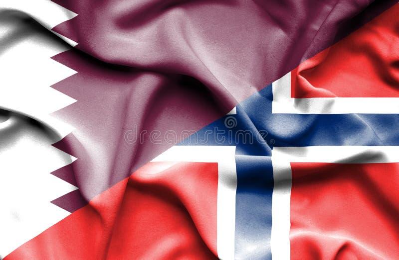 Golvende vlag van Noorwegen en Qatar stock illustratie