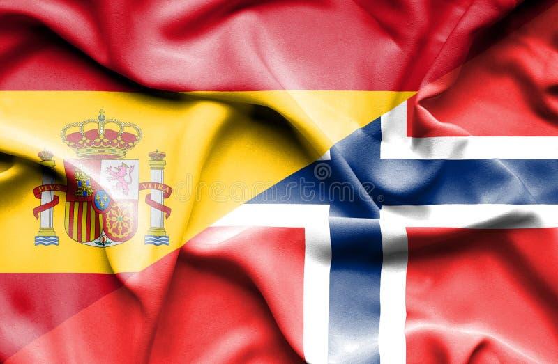 Golvende vlag van Noorwegen en Spanje stock illustratie