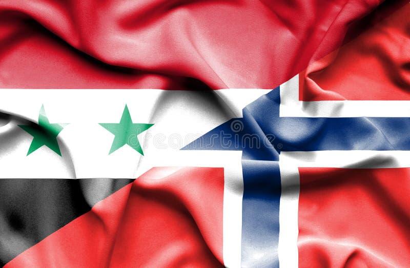Golvende vlag van Noorwegen en Syrië stock illustratie