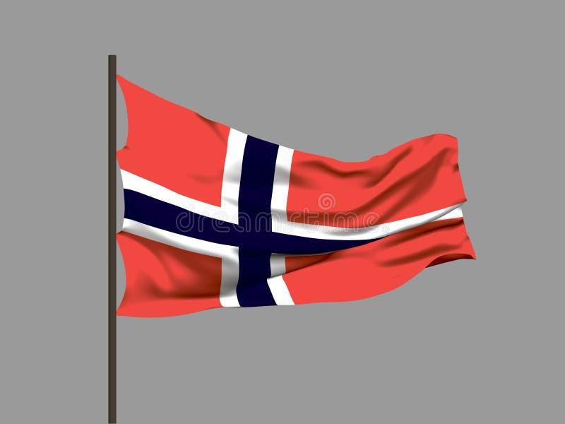 Golvende vlag van Noorwegen Vector illustratie vector illustratie